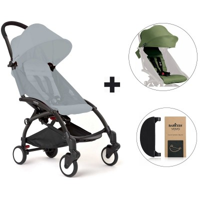 BabyZen YoYo+ Stroller with Color Pack and Adjustable Footrest - Black/Peppermint/Black