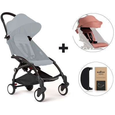 BabyZen YoYo+ Stroller with Color Pack and Adjustable Footrest - Black/Ginger/Black