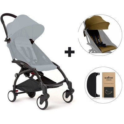 BabyZen YoYo+ Stroller with Color Pack and Adjustable Footrest - Black/Toffee/Black