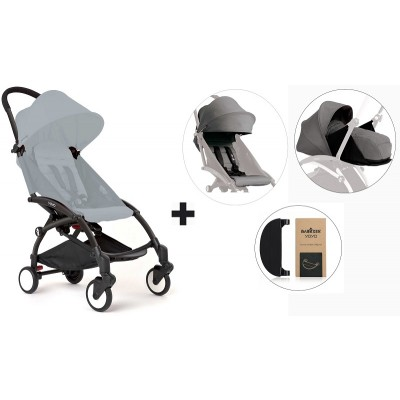 BabyZen YoYo+ Stroller with 0+ Newborn Pack, Color Pack and Adjustable Footrest - Black/Grey/Grey/Black