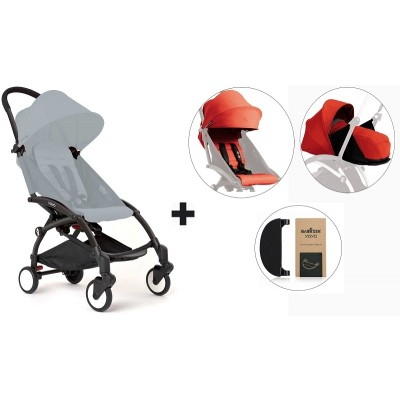 BabyZen YoYo+ Stroller with 0+ Newborn Pack, Color Pack and Adjustable Footrest - Black/Red/Red/Black