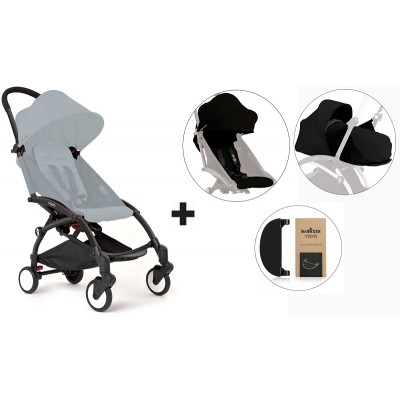 BabyZen YoYo+ Stroller with 0+ Newborn Pack, Color Pack and Adjustable Footrest - Black/Black/Black/Black