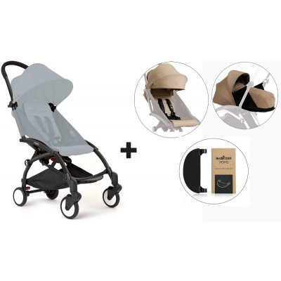 BabyZen YoYo+ Stroller with 0+ Newborn Pack, Color Pack and Adjustable Footrest - Black/Taupe/Taupe/Black