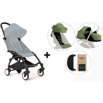 BabyZen YoYo+ Stroller with 0+ Newborn Pack, Color Pack and Adjustable Footrest - Black/Peppermint/Peppermint/Black