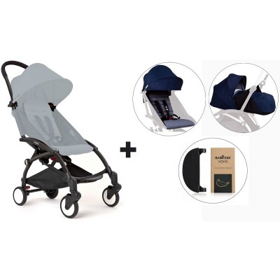 BabyZen YoYo+ Stroller with 0+ Newborn Pack, Color Pack and Adjustable Footrest - Black/Air France Blue/Air France Blue/Black