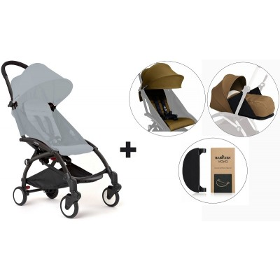 BabyZen YoYo+ Stroller with 0+ Newborn Pack, Color Pack and Adjustable Footrest - Black/Toffe/Toffe/Black