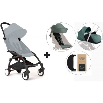 BabyZen YoYo+ Stroller with 0+ Newborn Pack, Color Pack and Adjustable Footrest - Black/Aqua/Aqua/Black