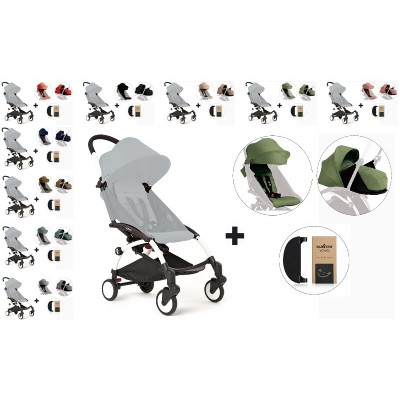 BabyZen YoYo+ Stroller with 0+ Newborn Pack, Color Pack and Adjustable Footrest - White