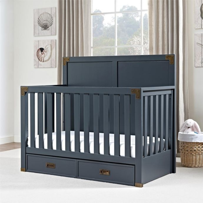 Bertini Wyatt 4 In 1 Convertible Crib In Graphite Blue No Shipping