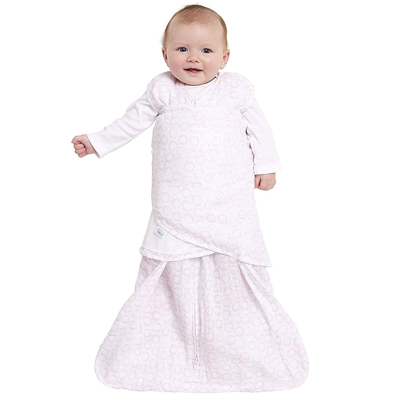 quality design 3dea6 390ca Halo Sleepsack Swaddle Pink Open Circles - Newborn