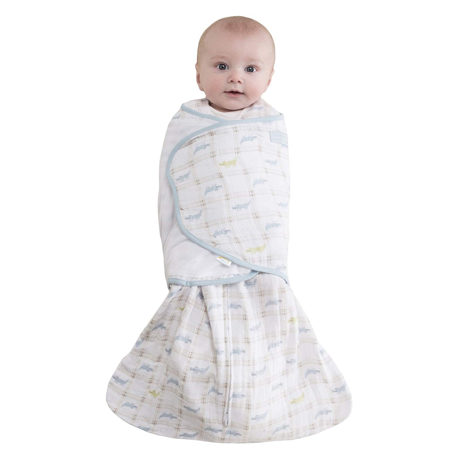 Gator Plaid Newborn HALO 100/% Cotton Muslin Sleepsack Swaddle