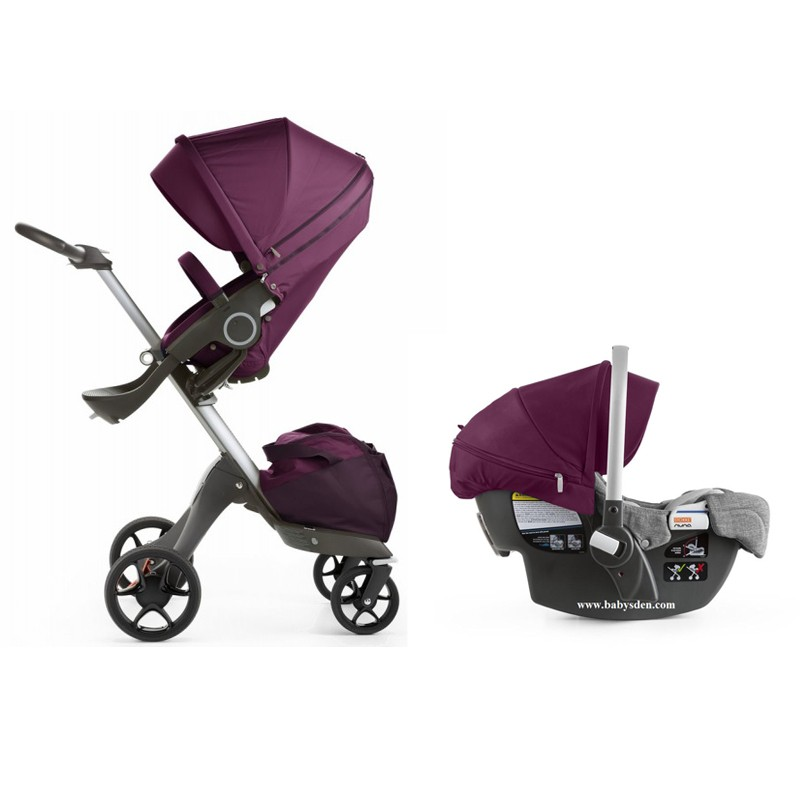 stokke xplory v5 stroller 2017 with stokke pipa infant car seat in purple free shipping no tax. Black Bedroom Furniture Sets. Home Design Ideas
