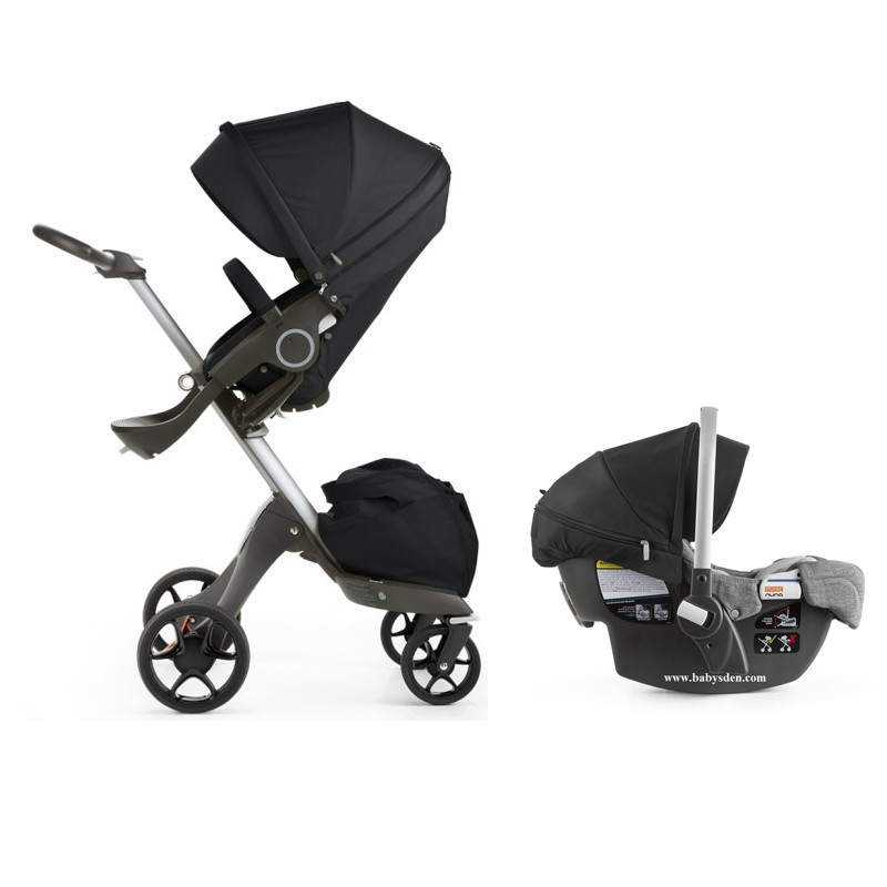 stokke xplory v5 stroller 2017 with stokke pipa infant car seat in black free shipping no tax. Black Bedroom Furniture Sets. Home Design Ideas