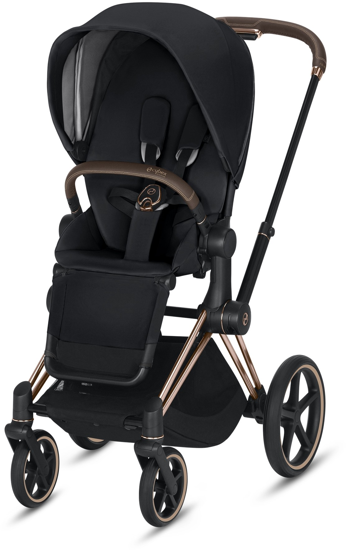 Cybex Priam 3 3 In 1 Travel System Rose Gold Frame Premium Black Seat
