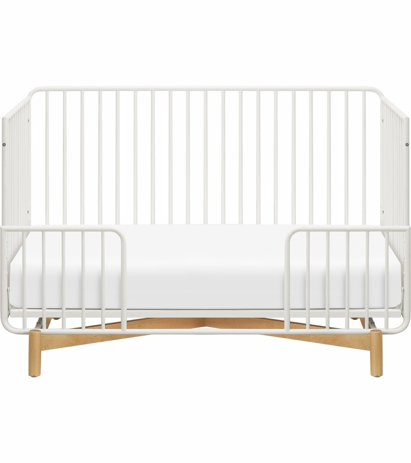 Babyletto Bixby Metal Crib With Toddler Bed Conversion Kit In Warm White Natural Beech Nursery Furniture