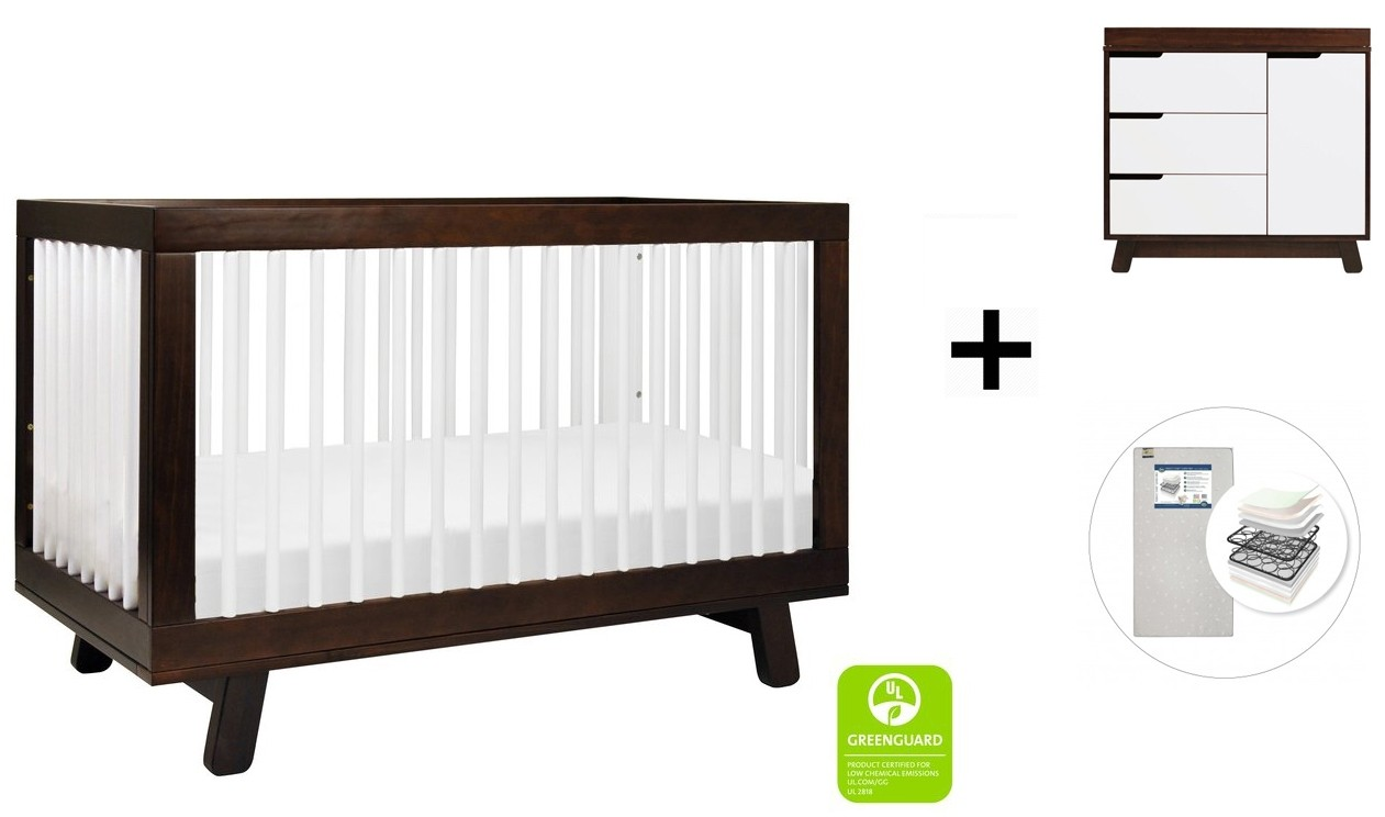 Babyletto Hudson 3 In 1 Convertible Crib Toddler Bed Conversion Kit 3 Drawer Changer Dresser And Removable Changing Tray With Start Super Firm