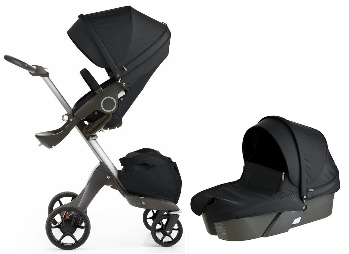 stokke xplory v5 stroller with bassinet newborn package in black free shipping no tax. Black Bedroom Furniture Sets. Home Design Ideas