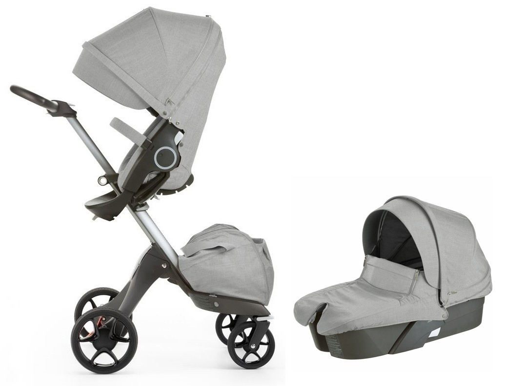 stokke xplory v5 stroller with bassinet newborn package in grey melange free shipping no tax. Black Bedroom Furniture Sets. Home Design Ideas