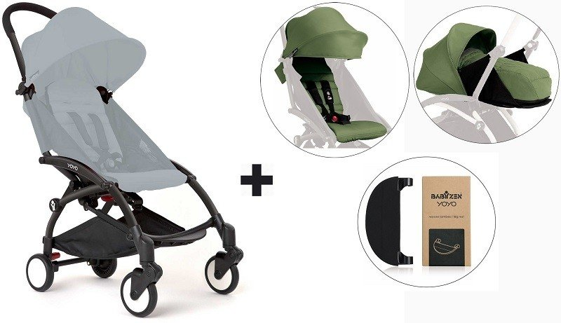 Babyzen Yoyo Stroller With 0 Newborn Pack Color Pack And Adjustable Footrest Black Peppermint Peppermint Black
