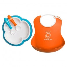 BabyBjorn Baby Feeding Set - Orange Soft Bib, Turquoise Plate, Orange Spoon & Turquoise Fork