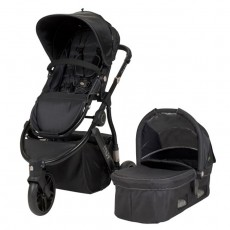 MUV GAAN Stroller with Bassinet and Canopy (3 wheel) - Satin Black