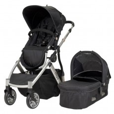 MUV REIS Stroller with Bassinet and Canopy (4 wheel) - Satin Black