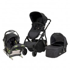 MUV REIS Travel System with KUSSEN Car Seat and Canopy - Satin Black