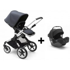 Bugaboo Fox Stoller with Turtle Infant Car Seat - Aluminum/Steel Blue/Black