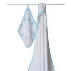 Aden + Anais  Muslin Hooded Towel & Washcloth Set in Hide and Sea