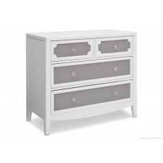 Hollywood 3-in-1 Crib and 4 Drawer Chest Dresser with Changing Top - Antique White/Grey/Serta Gre