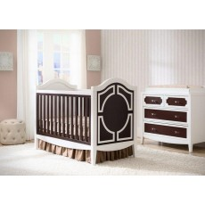 Hollywood 3-in-1 Crib and 4 Drawer Chest Dresser with Changing Top - White/Dark Chocolate/Dark Chocolate