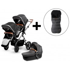 Silver Cross Wave Double Stroller and FREE Premium Footmuff - Granite