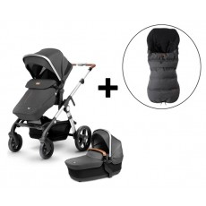 Silver Cross Wave Stroller and FREE Premium Footmuff - Granite
