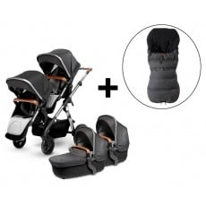 Silver Cross Wave Twin Stroller and FREE Premium Footmuff - Granite