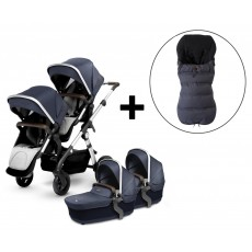Silver Cross Wave Twin Stroller and FREE Premium Footmuff - Midnight Blue