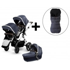 Silver Cross Wave Double Stroller and FREE Premium Footmuff - Midnight Blue