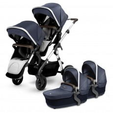 Silver Cross Wave Twin Stroller Complete - Midnight Blue