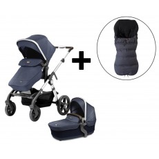 Silver Cross Wave Stroller and FREE Premium Footmuff - Midnight Blue