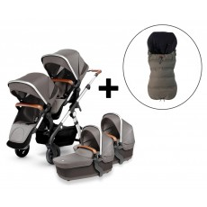 Silver Cross Wave Twin Stroller and FREE Premium Footmuff - Sable