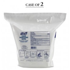 Sanitizing Skin Wipe Purell Refill Pouch BZK (Benzalkonium Chloride) Alcohol Scent 1,200 Count - Case of 2