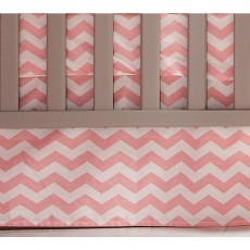 Mamas & Papas Patternology Crib Skirt - Pink Chevron