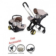 2018 Doona Infant Car Seat Stroller with Base, All Day Bag & Sunshade Extension - Beige