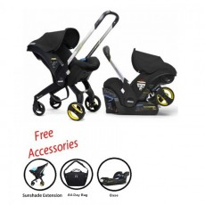 2018 Doona Infant Car Seat Stroller with Base, All Day Bag & Sunshade Extension - Black Night