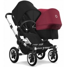 2018 Bugaboo Donkey 2 Duo Complete Stroller - Aluminum/Black/Black/Ruby Red