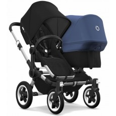 2018 Bugaboo Donkey 2 Duo Complete Stroller - Aluminum/Black/Black/Sky Blue