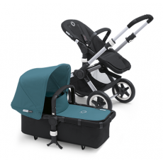 Bugaboo Buffalo Stroller (Base and Tailored Fabric Sets) - Pre-Order - Black/Petrol Blue