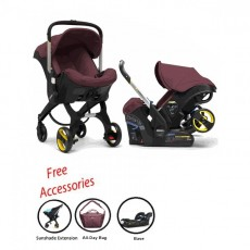 2018 Doona Infant Car Seat Stroller with Base, All Day Bag & Sunshade Extension - Cherry (Burgundy)