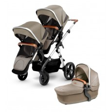 Silver Cross Wave Double Stroller - Linen (Wave Board Compatible