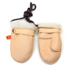 Elks and Angels Love Winter Shearling Toddler Mittens Light Almond
