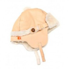 Elks and Angels Love Winter Shearling Trapper Hat Light Almond